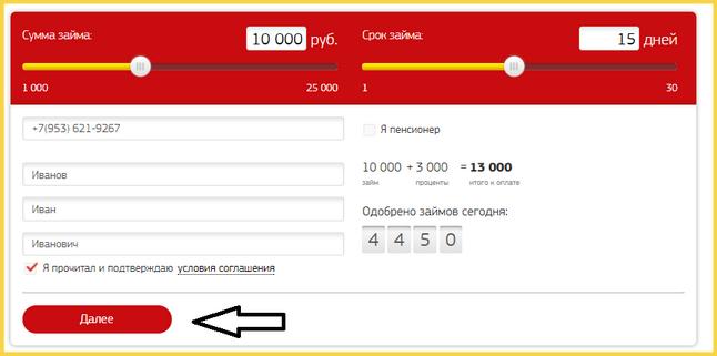 Анкета на займ в МФО Наши Деньги