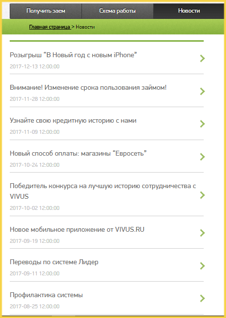 Новости МФО Вивус