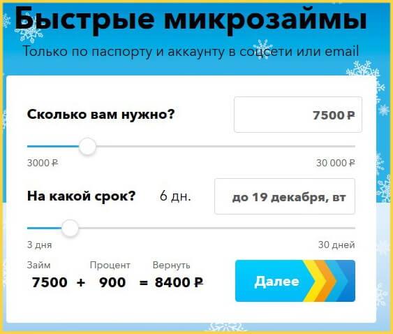 Сайт параметры займа в МФО Мили