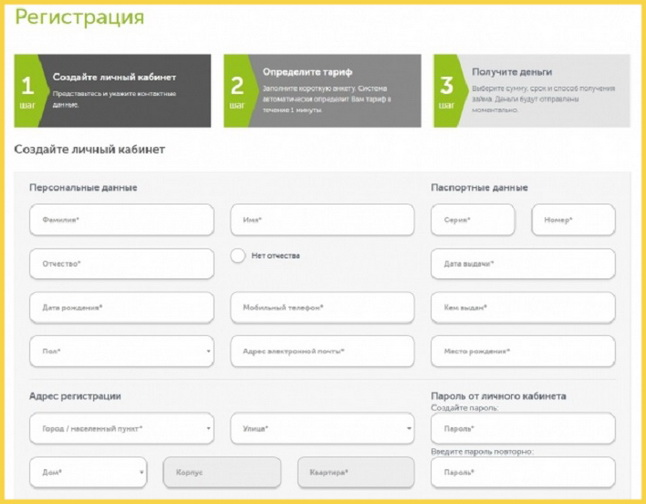 Анкета регистрации МФО Лайм-Займ