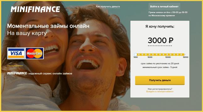 Выбор условий займа в Minifinance